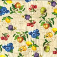 5x napkin Vintage fruits cream