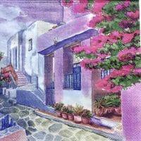 Rare Painted Greek Villa