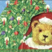 4x napkin Asger Bear Santa