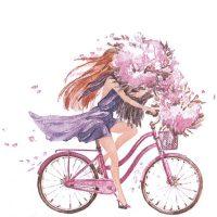 Girl On Bike art by Jul Andersen