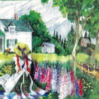 Girl in garden / 2ply