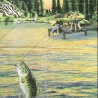 Rare Gone Fishing background cream