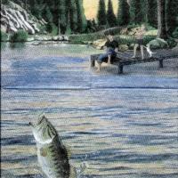 Rare Gone Fishing background blue