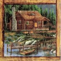 Cabin scene art by Robert Schmidt