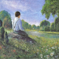 Rare A Young Man in a Meadow Field