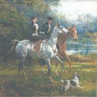 Rare  Victorian couple / riding /horse