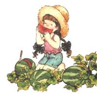 Rare Little girl eats watermelon  Two motifs on the napkin!!!