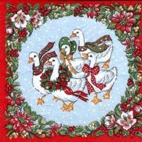 3x napkin Rare Christmas Geese