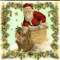 3x napkin Santa in Chimney by Carola Pabst