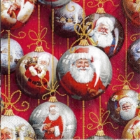 4x napkin Santa baubles red