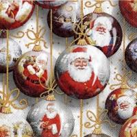 4x napkin Santa baubles white